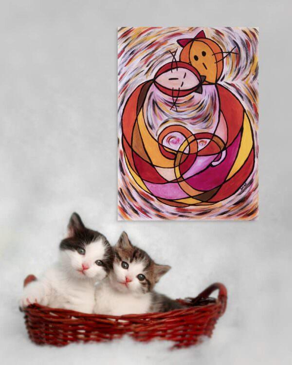 il quadro si intitola gatto abbraccio