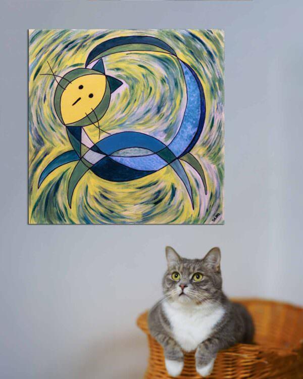 Quadro intitolato gatto mondo2