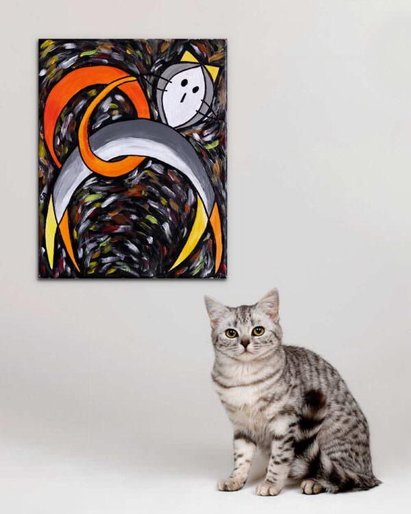quadro intitolato gatto grigio